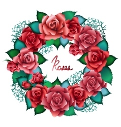 Red roses wreath vector