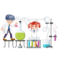 Researcher experiment with chemical items vector