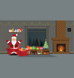 santa claus with christmas tree and gift boxes vector image