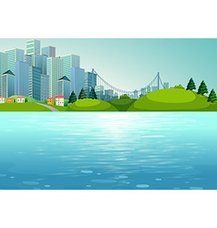 Scene with buildings and river vector image