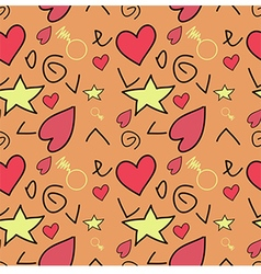Seamless pattern with hearts Orange background vector image