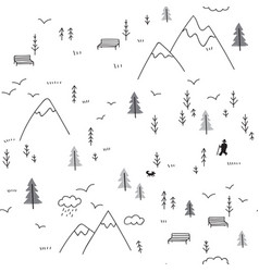 Seamless pattern with man walking in mountains vector