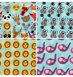 Set 4 Seamless pattern with funny cute animal face vector