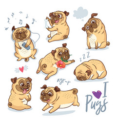 set cute pug pupies for cards banners vector image