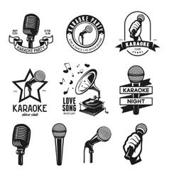 Set karaoke related vintage labels badges and vector