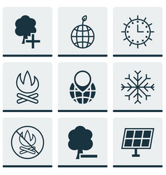 set of 9 eco icons includes pin earth snow vector image