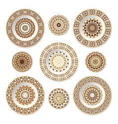 Set of decorative plates with a orange pattern vector