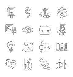 set of energy icons in modern thin line style vector image