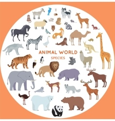 Set of World Animal Species vector