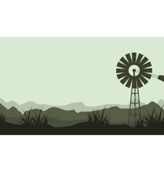Silhouette of windmill beauty landscape vector