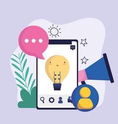 Smartphone megaphone message avatar social media vector
