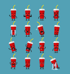 Soft drink character emoji set vector