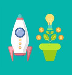 spaceship and money tree with coins dollar vector image