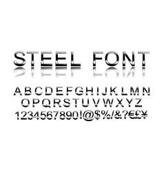 Steel alphabet font vector