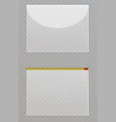 Transparent plastic files cellophane folders to vector