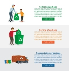 Wed banners on theme of collecting waste vector
