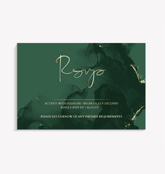 Wedding rsvp template in green color invitation vector