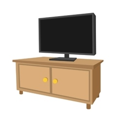 Wooden TV cabinet with a large TV cartoon icon vector
