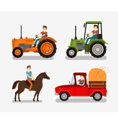 Farm icons set Cartoon symbols such as tractor vector image