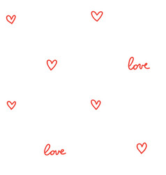 hearts seamless pattern white with red vector image vector image