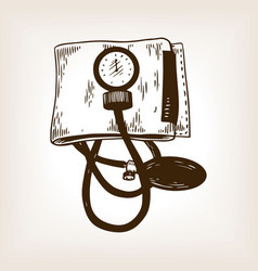 medical blood pressure meter engraving vector image vector image