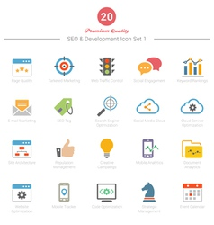 Set of Full Color SEO and Development icons Set 1 vector image vector image