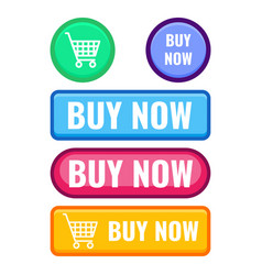 set of web push buttons buy now cart icon vector image