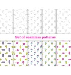 Set seamless patterns Line design ice cream vector image vector image