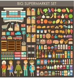 Big supermarket set vector image vector image