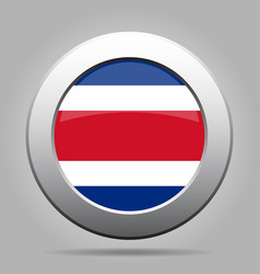 flag of costa rica shiny metal gray round button vector image vector image