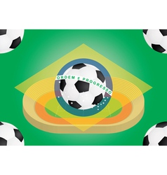 football over flag of Brazil vector image vector image