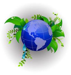 green planet eco nature ladybug vector image
