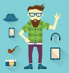 Hipster with hipster elements for design vector image vector image