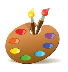 Palette and paintbrushes vector image