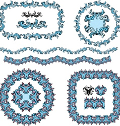 set of round and oval frames and vintage design vector image vector image