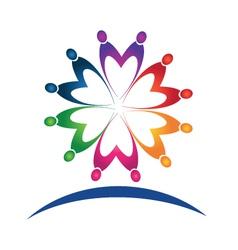 Teamwork people logo vector image
