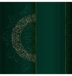 Gold vintage floral patterns on green vector image vector image