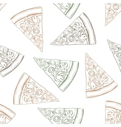 Seamless pattern pizza with mashroom scetch vector image