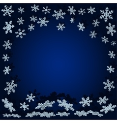 snowflakes with shadow Blue Christmas background vector image