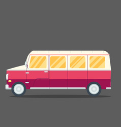 travel van flat square icon with long shadows vector image vector image