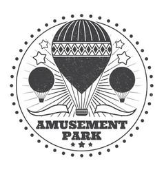 vintage amusement park emblem with grunge effect vector image
