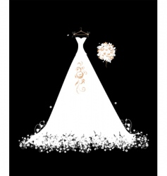 wedding dress white on hangers vector image vector image