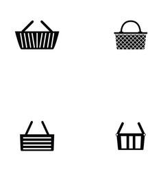 basket icon set vector image vector image