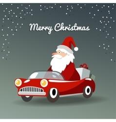 Christmas greeting card with Santa Claus retro vector image