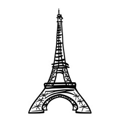 doodle black eifel tower hand drawn vector image vector image