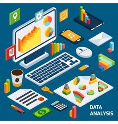 Isometric data analysis set vector image vector image