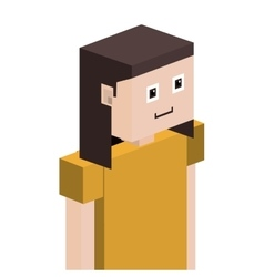 lego girl half body with t-shirt and short hair vector image