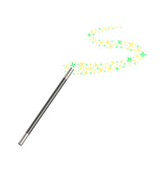 magic wand with stream of golden and green stars vector image