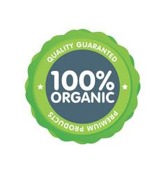 Modern green eco badge 100 percent organic label vector