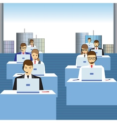 People working in a call center vector image vector image